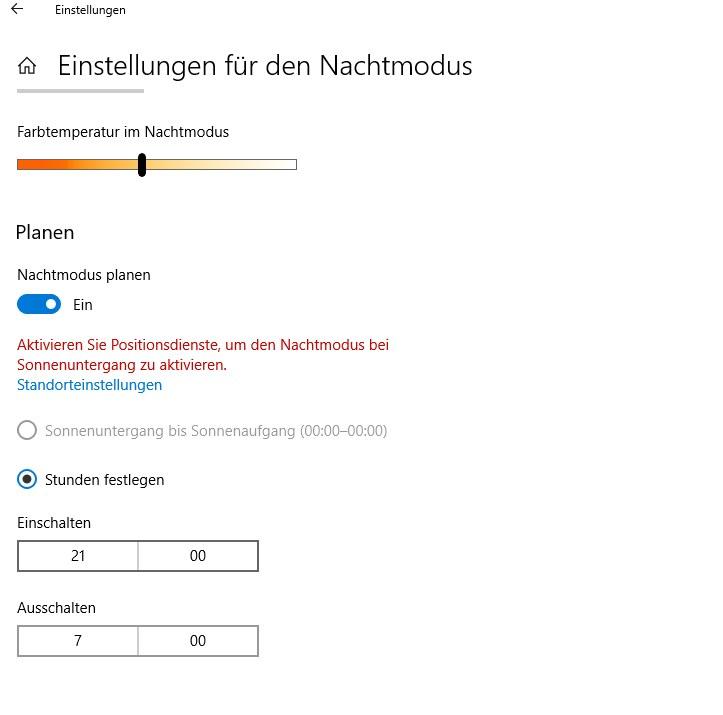 Den Nachtmodus von Windows 10 aktivieren