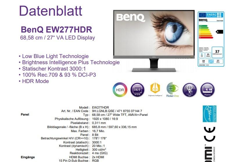 Datenblatt BenQ EW277HDR